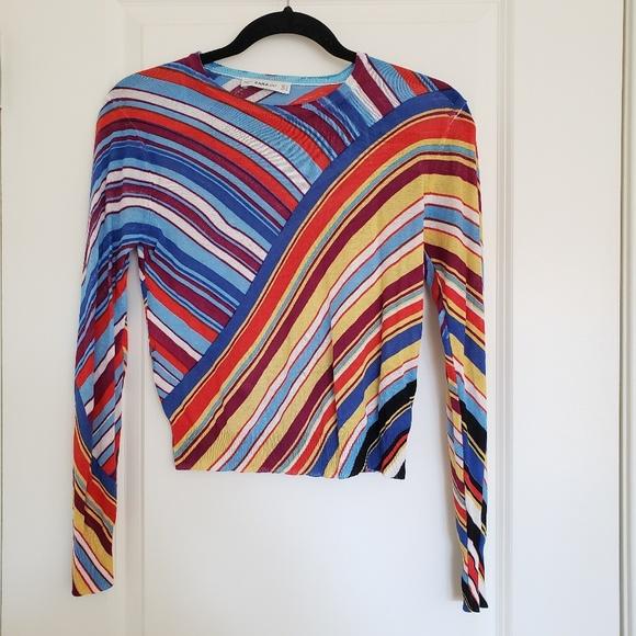 5308eee7 Zara Tops | Colorful Striped Knit Sweater | Poshmark